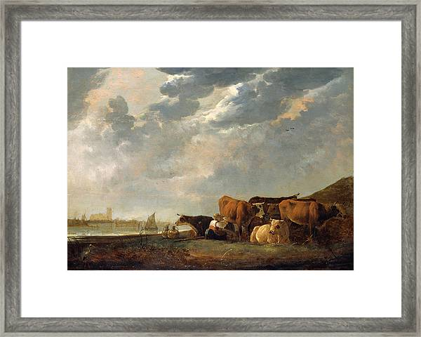 Cattle Near The Maas, With Dordrecht In The Distance Framed Print
