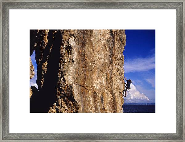 Caucasian Male Rock Climbing Framed Print