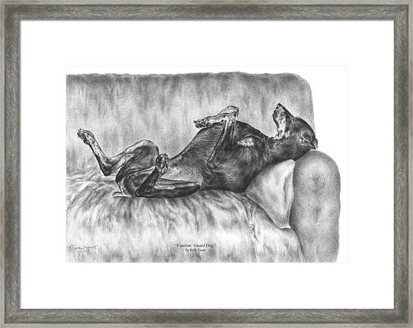 Caution Guard Dog - Doberman Pinscher Art Print Framed Print