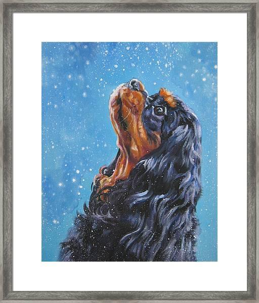 Cavalier King Charles Spaniel Black And Tan In Snow Framed Print
