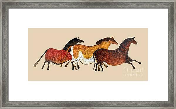 Cave Horses In Beige Framed Print