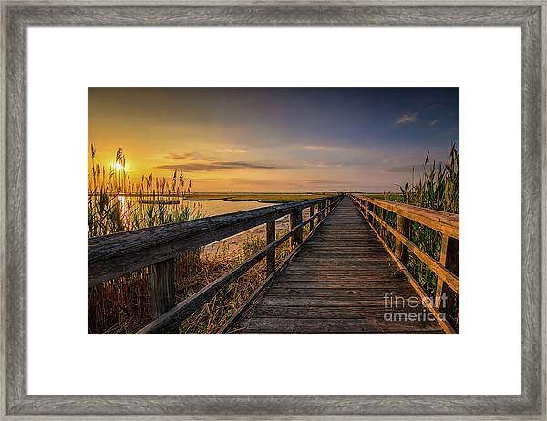 Cedar Beach Pier, Long Island New York Framed Print