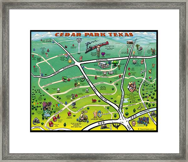 Cedar Park Texas Cartoon Map Framed Print