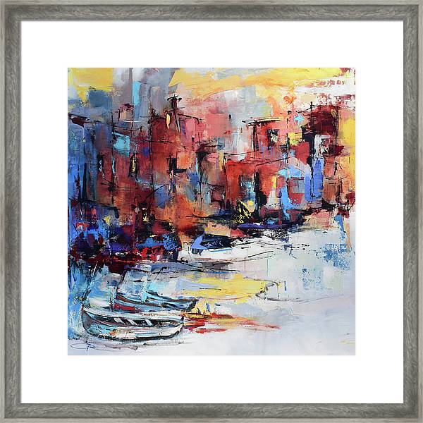 Framed Print featuring the painting Cefalu Seaside by Elise Palmigiani
