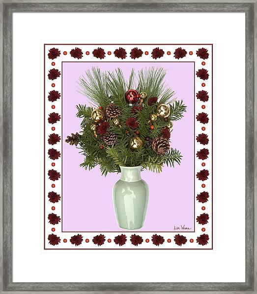 Celadon Vase With Christmas Bouquet Framed Print