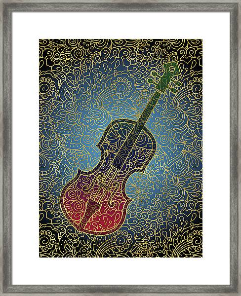 Cello Colorful Gold Framed Print