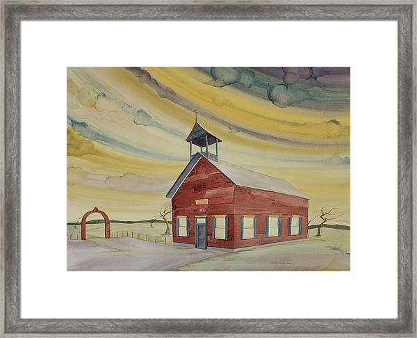 Framed Print featuring the painting Central Ohio Schoolhouse by Scott Kirby