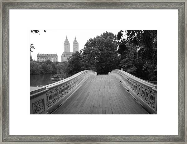 Central Park Bow Bridge With The San Remo Framed Print