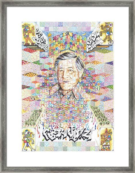 Cesar Chavez- Sombra De Arreguin Framed Print