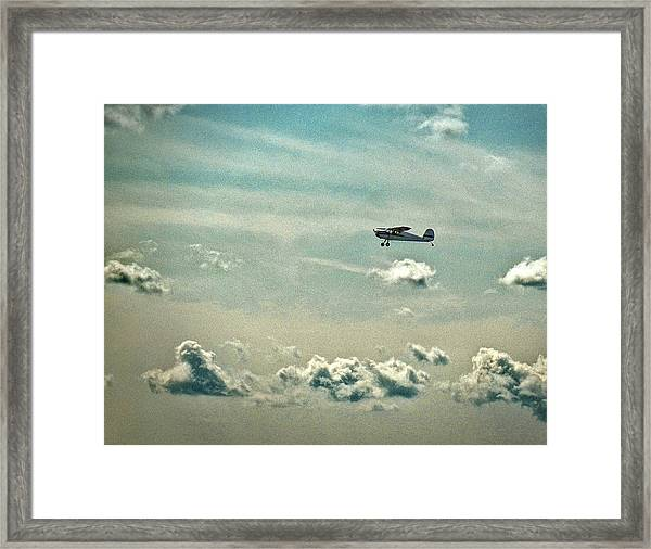 Cessna 140 Departing Delaware Coastal Airport At Georgetown Framed Print