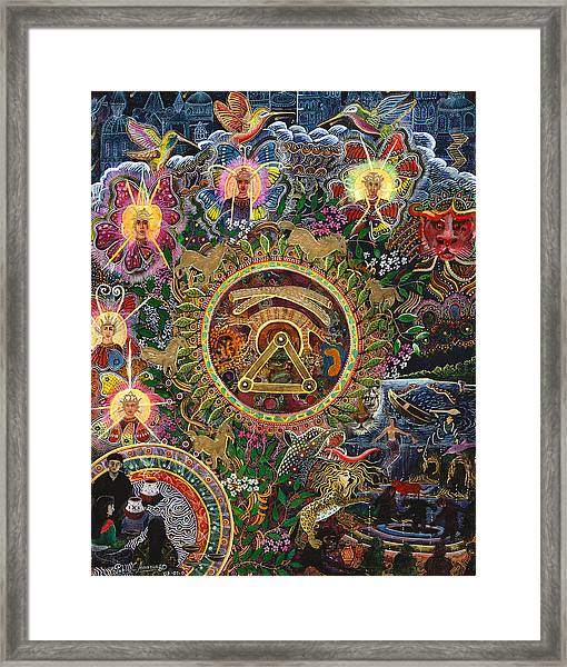Framed Print featuring the painting Chacruna Versucum 2007 Version  by Pablo Amaringo