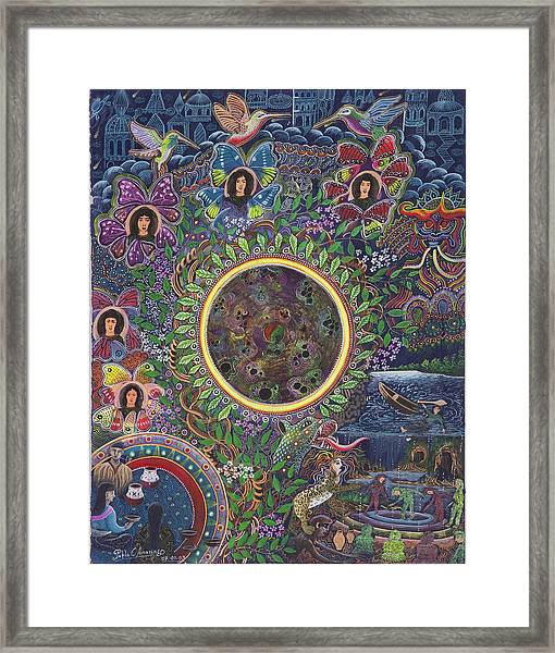 Framed Print featuring the painting Chacruna Versucum by Pablo Amaringo