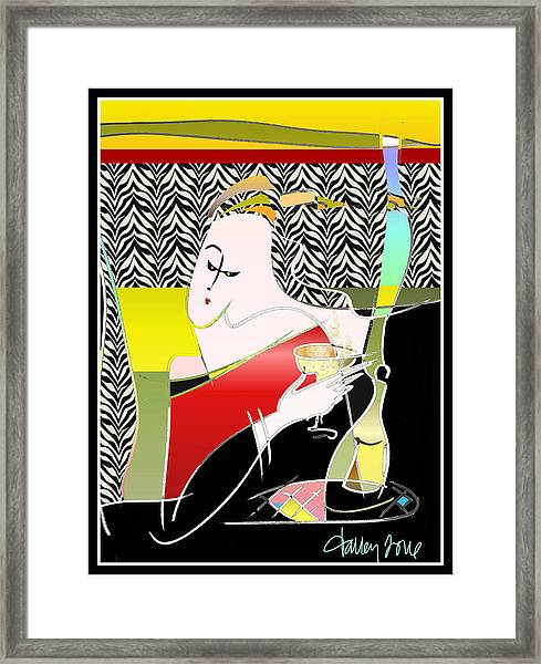 Champagne For One At The Zebra Lounge Framed Print
