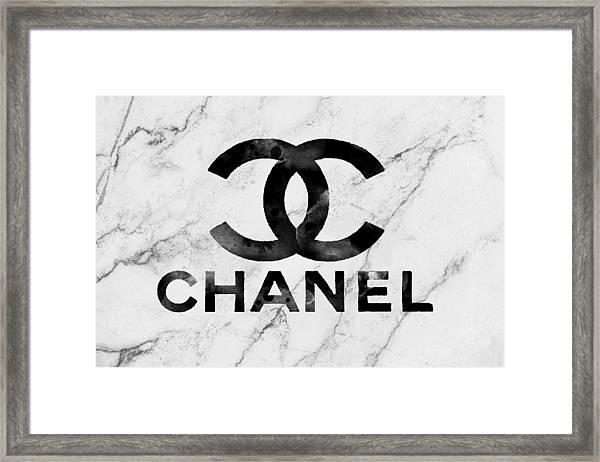 Chanel Logo White Marble Framed Print