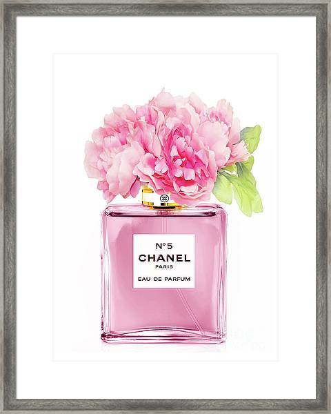 Chanel N5 Pink With Flowers Framed Print