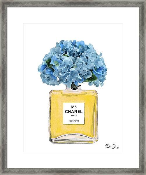 Chanel Perfume Nr 5 With Blue Hydragenias  Framed Print