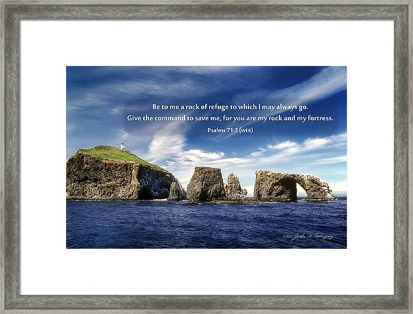 Channel Island National Park - Anacapa Island Arch With Bible Verse Framed Print