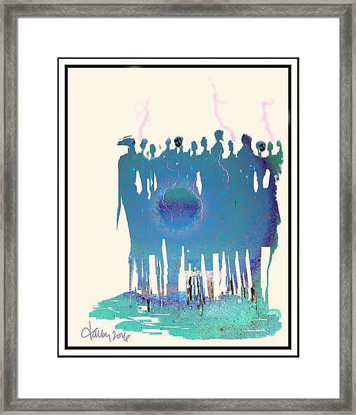 Framed Print featuring the painting Women Chanting - Recharging The Earth by Larry Talley