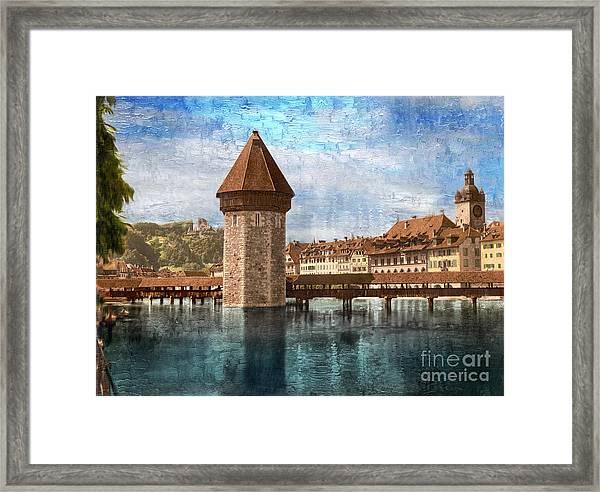 Chapel Bridge In Lucerne Framed Print