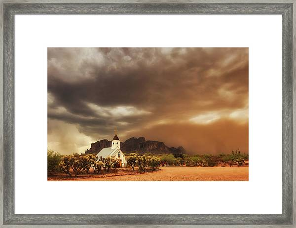Chapel In The Storm Framed Print
