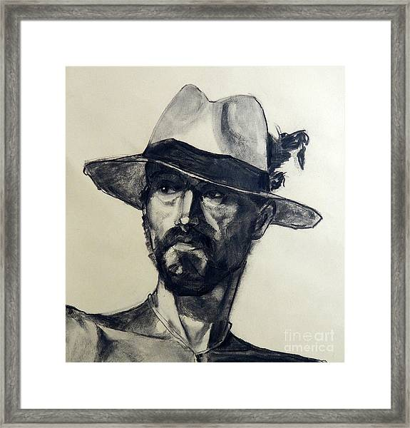 Charcoal Portrait Of A Man Wearing A Summer Hat Framed Print
