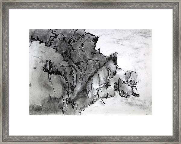 Charcoal Sea Rocks Framed Print