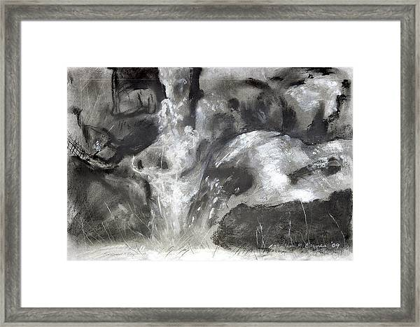 Charcoal Waterfall Framed Print