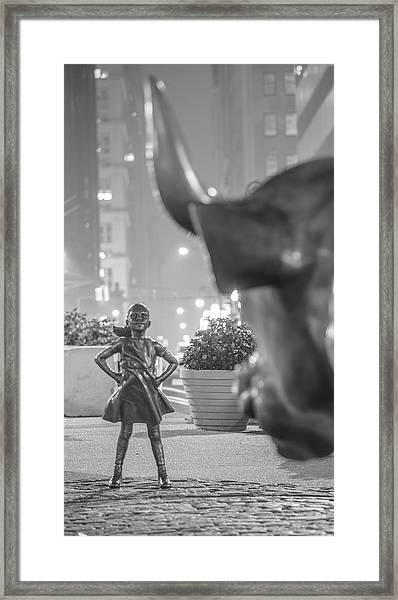 Charging Bull And Fearless Girl Nyc  Framed Print