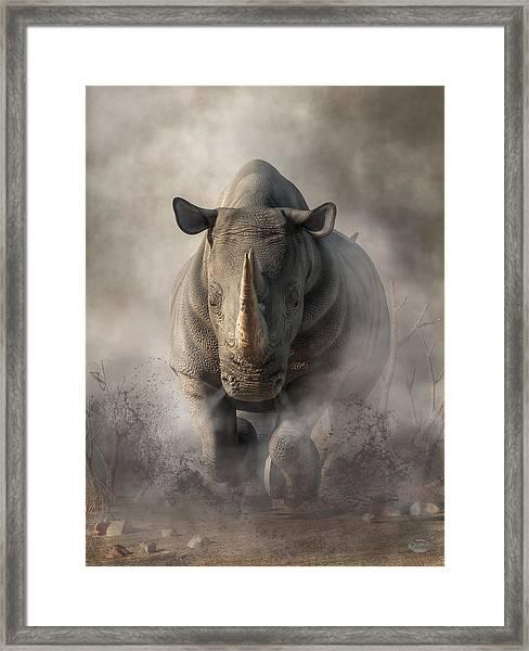 Charging Rhino Framed Print