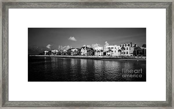 Charleston Battery Row Black And White Framed Print
