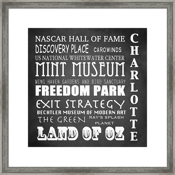 Charlotte Famous Landmarks Framed Print