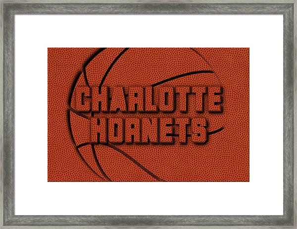 Charlotte Hornets Leather Art Framed Print