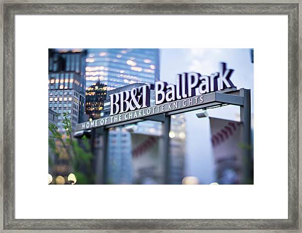 Charlotte Nc Usa  Bbt Baseball Park Sign  Framed Print
