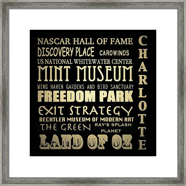 Charlotte North Carolina Famous Landmarks Framed Print
