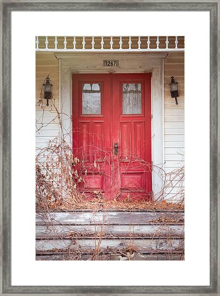 Charming Old Red Doors Portrait Framed Print