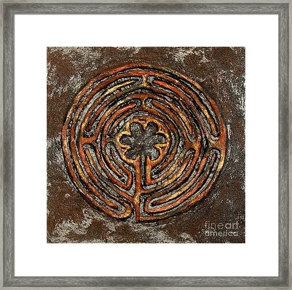 Chartres Style Labyrinth Earth Tones Framed Print