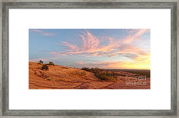 Chasing Angels Of Light Over Enchanted Rock - Fredericksburg Texas Hill Country Framed Print