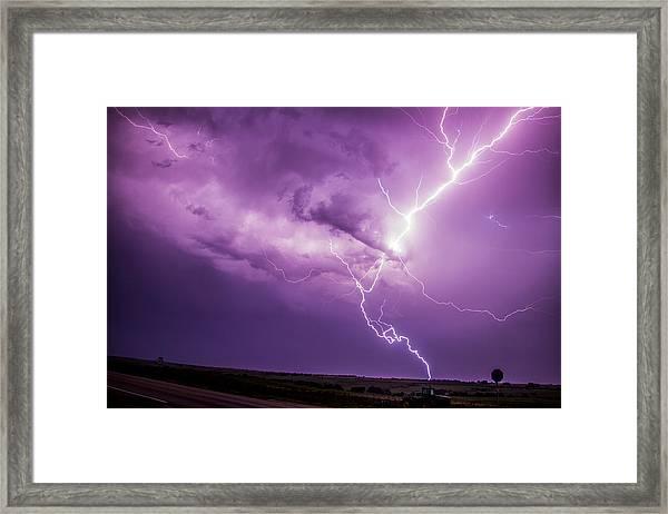 Chasing Nebraska Lightning 018 Framed Print