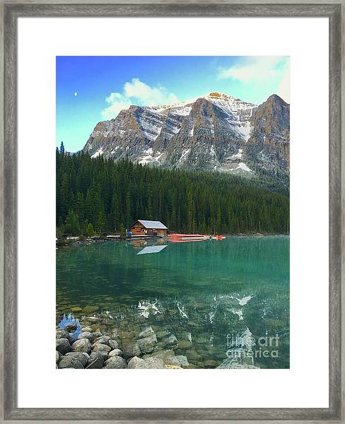 Chateau Boat House Framed Print