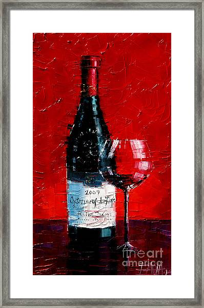 Still Life With Wine Bottle And Glass I Framed Print