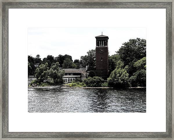 Chautauqua Institute Miller Bell Tower 2 With Ink Sketch Effect Framed Print