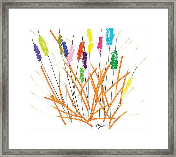 Cheerful Cattails Framed Print