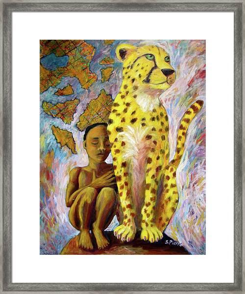 Cheetah Boy Framed Print