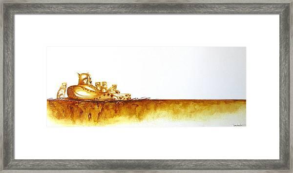 Cheetah Mum And Cubs - Original Artwork Framed Print