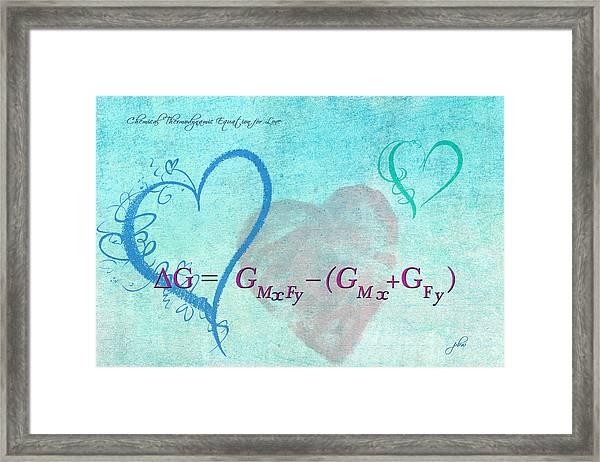 Chemical Thermodynamic Equation For Love Framed Print