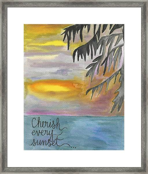Cherish Every Sunset Framed Print