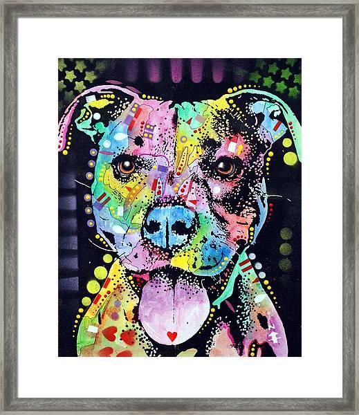 Cherish The Pitbull Framed Print