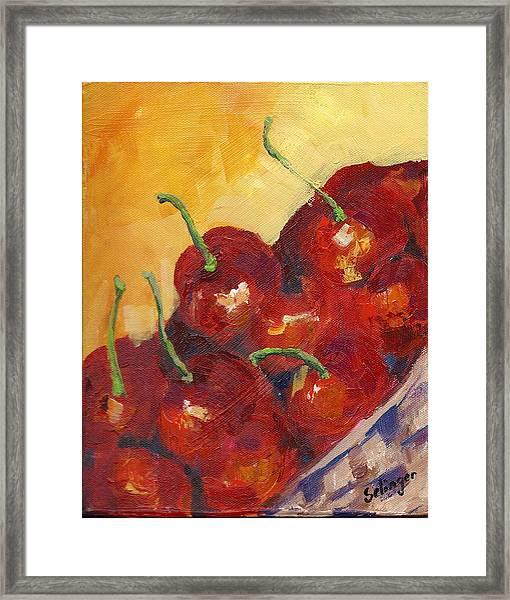 Cherries In A Basket Framed Print