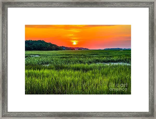 Cherry Grove Marsh Sunrise Framed Print