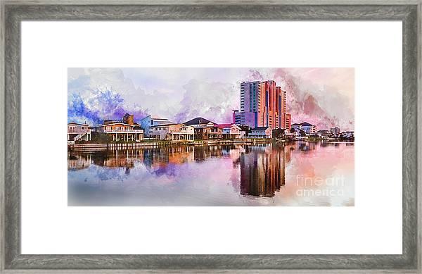 Cherry Grove Skyline - Digital Watercolor Framed Print
